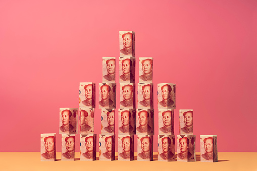 Yuan money notes placed in a pyramid structure - gettyimageskorea