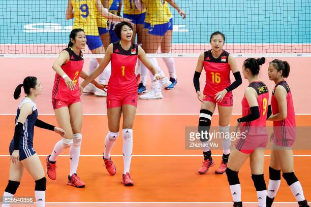 Yuan Xinyue of China celebrates with teamates during 2017 Nanjing FIVB World Grand Prix Finals between China and Brazil on August 2 2017 in Nanjing...