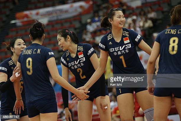 Yuan Xinyue of China cerebrates after defeating the match between Dominican Republic and China during the FIVB Women's Volleyball World Cup Japan...
