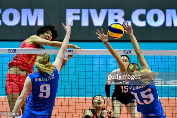 Yuan Xinyue of China spikes the ball during the FIVB Volleyball World Grand Prix match between China and Serbia on July 23 2017 in Hong Kong Hong Kong