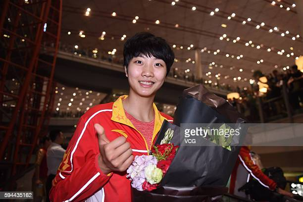 Yuan Xinyue of Chinese Women Volleyball Team returns to China after winning the women's Gold Medal volleyball match during the the 2016 Rio de...