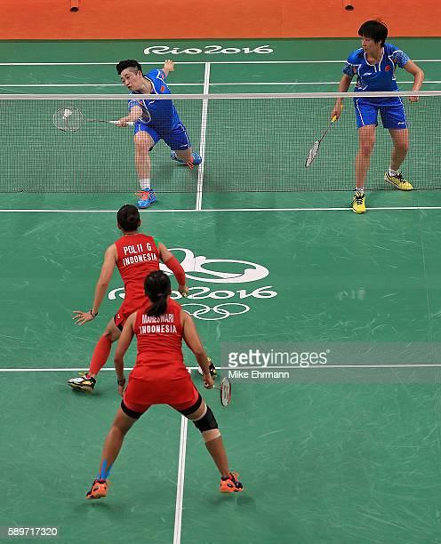 Yuanting Tang and Yang Yu of China play a Womens Doubles Quarterfinal match against Nitya Krishinda Maheswari and Greysia Polii of Indonesia on Day...