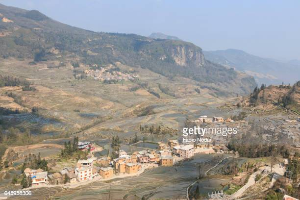 yuanyang rice terraces in yunnan, china, one of the latest unesco world heritage sites - provinz yunnan stock-fotos und bilder