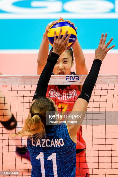 Yuanyuan Wang of China fights for the ball with Julieta Constanza Lazcano of Argentina during the FIVB Volleyball Nations League Hong Kong match...