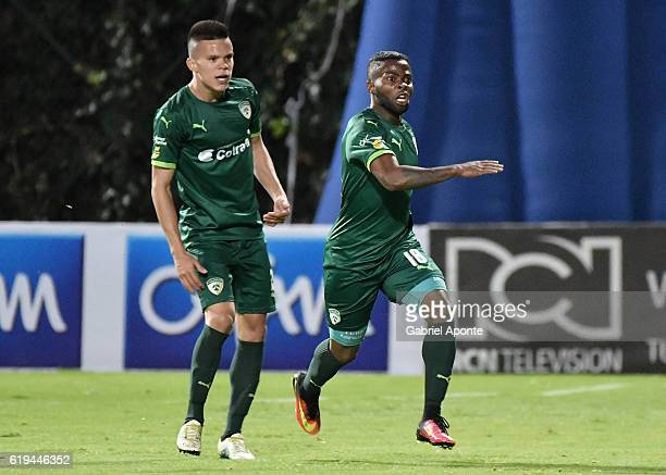 Yuber Asprilla of La Equidad celebrates after scoring the second goal of his team during a match between Millonarios and La Equidad as part of round...