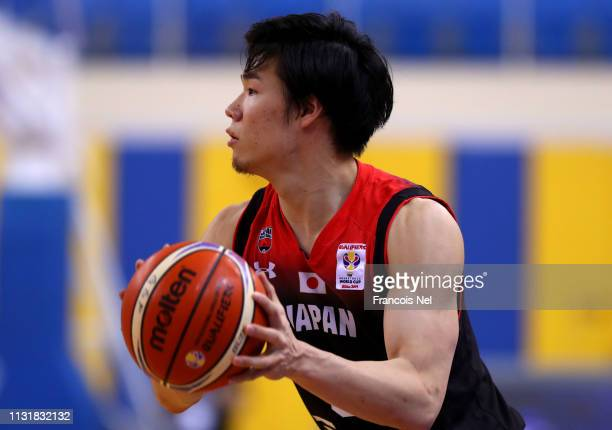 Yudai Baba of Japan controls the ball during the FIBA Basketball World Cup 2019 Asian Qualifier between Qatar and Japan at Al Gharrafa Sport Complex...