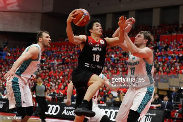 Yudai Baba of Japan drives to the basket during the FIBA World Cup Asian Qualifier Group F match between Japan and Kazakhstan at Toyama City...