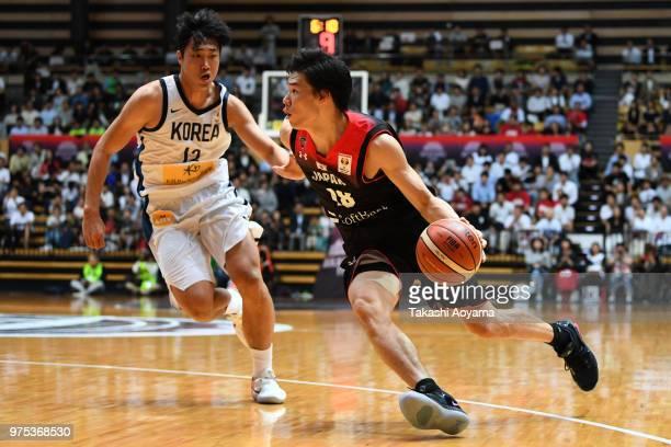 Yudai Baba of Japan drives to the basket during the Japan v South Korea Basketball International Game at OtaCity General Gymnasium on June 15 2018 in...