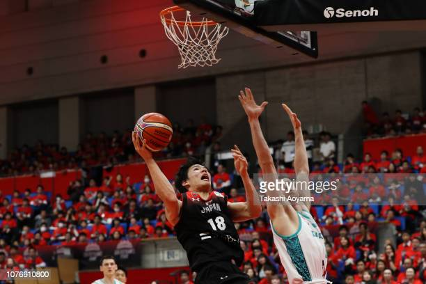 Yudai Baba of Japan lays the ball up during the FIBA World Cup Asian Qualifier Group F match between Japan and Kazakhstan at Toyama City Gymnasium on...