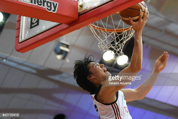 Yudai Baba of the Alvark Tokyo lays the ball up during the B.League Kanto Early Cup final between Alvark Tokyo and Chiba Jets at Funabashi Arena on...