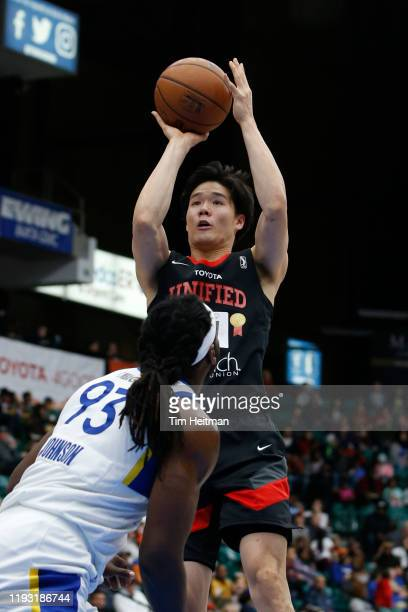Yudai Baba of the Texas Legends shoots the ball during the third quarter against the Santa Cruz Warriors on January 11 2020 at Comerica Center in...