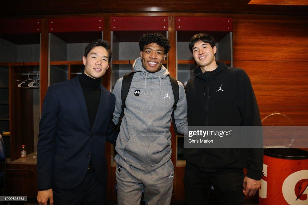 2020 NBA All-Star: Rui Hachimura Postgame Photo Op with Yuta Wantanabe & Yodai : News Photo