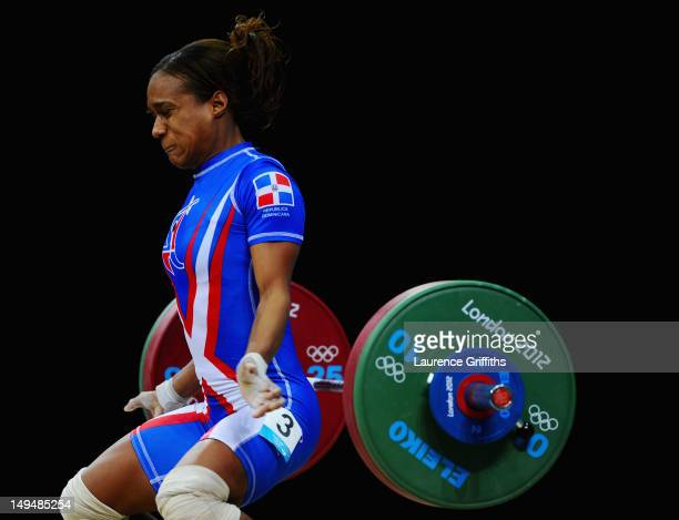 Yuderqui Contreras of Dominican Republic competes in the Women's 53kg Weightlifting on Day 2 of the London 2012 Olympic Games at ExCeL on July 29...