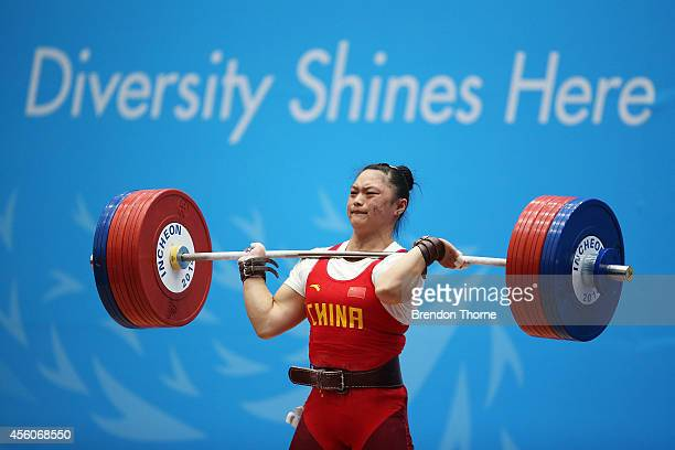 Yue Kang of China competes in the Women's 75kg Weightlifting Final during day six of the 2014 Asian Games at Moonlight Festival Garden Weightlifting...