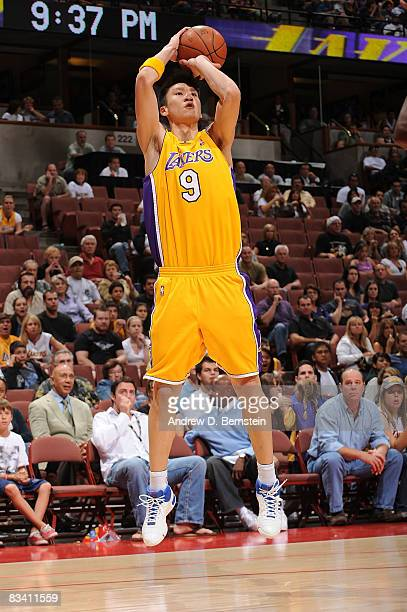 Yue Sun of the Los Angeles Lakers shoots against the Charlotte Bobcats during the game on October 23 2008 at Honda Center in Anaheim California NOTE...