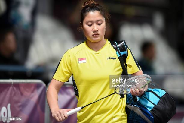 Yue Yann Jaslyn Hooi of Singapore arrives to the court prior to the game against Tereza Svabikova of Czech Republic on day 1 of the Buenos Aires...