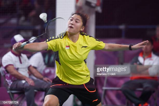 Yue Yann Jaslyn Hooi of Singapore hits a return during the women's singles match against Tereza Svabikova of Czech Republic on day 1 of the Buenos...
