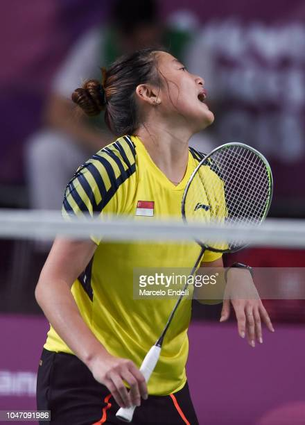 Yue Yann Jaslyn Hooi of Singapore reacts during the women's singles match Tereza Svabikova of Czech Republic on day 1 of the Buenos Aires Youth...