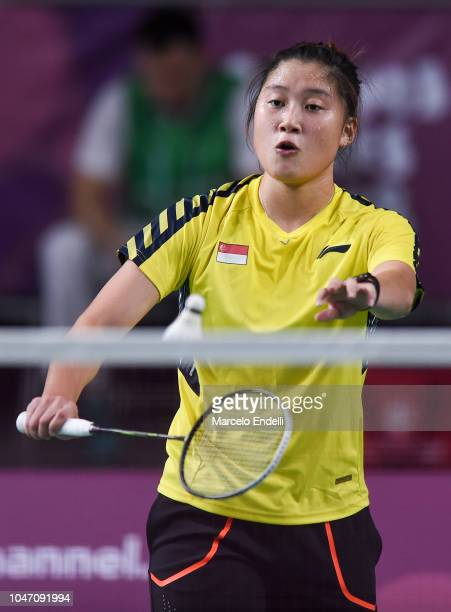 Yue Yann Jaslyn Hooi of Singapore serves during the women's singles match against Tereza Svabikova of Czech Republic on day 1 of the Buenos Aires...