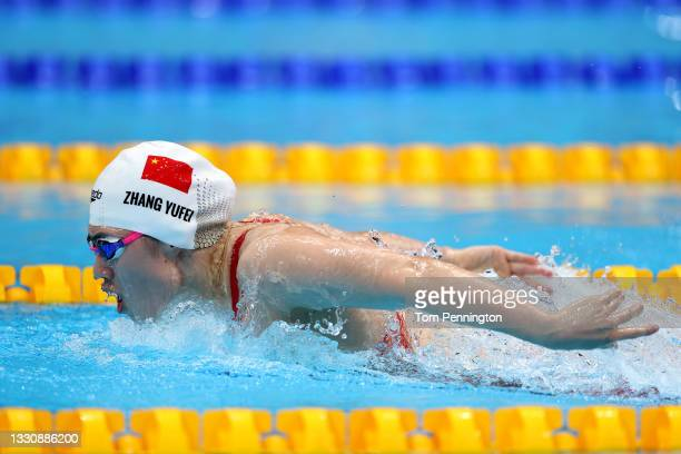 Yufei Zhang of Team China competes in heat three of the Women's 200m Butterfly on day four of the Tokyo 2020 Olympic Games at Tokyo Aquatics Centre...
