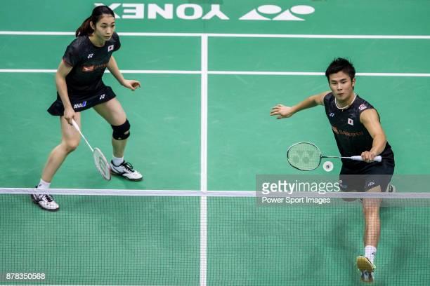 Yugo Kobayashi and Misaki Matsutomo of Japan in action against Wang Yilyu and Huang Dongping of China during their mixed doubles qualification match...