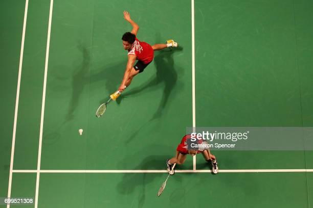 Yugo Kobayashi of Misaki Matsutomo of Japan compete during their R16 match against Tan Kian Meng and Lai Pei Jing of Malaysia during the Australian...