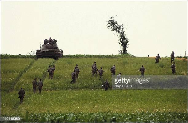 Yugoslav army at the border of Slovenia in Yugoslavia on July 03 1991