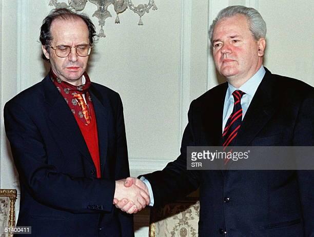 Yugoslav President Slobodan Milosevic shakes hands with ethnic Albanian leader Ibrahim Rugova prior to talks in Yugoslav capital of Belgrade April 1...