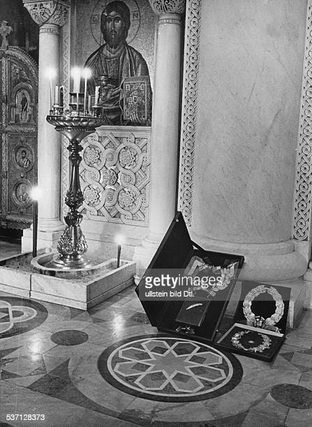 Yugoslavia kingdom Srbska Serbia Gold and silver wreaths in commemoration of King Alexander I next to the iconostasis in the crypt of the Church of...