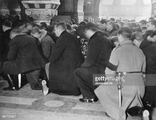 Yugoslavia kingdom Srbska Serbia People kneeling to say goodbye to murdered King Alexander I in the Church of St George near Topola late autumn 1934...