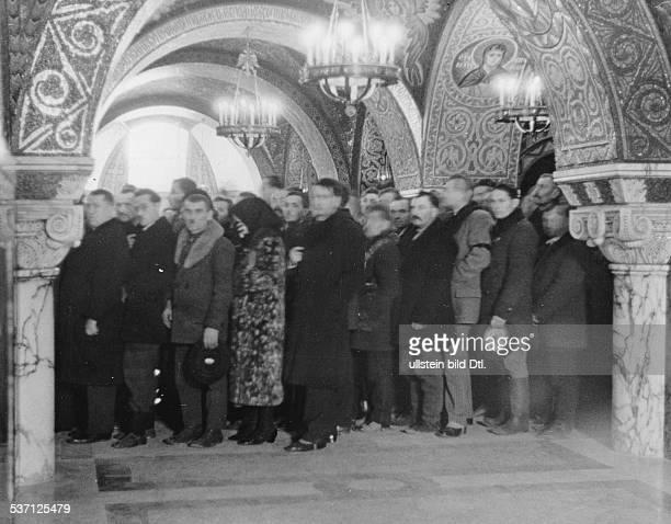 Yugoslavia kingdom Srbska Serbia People saying goodbye to murdered King Alexander I in the Church of St George near Topola late autumn 1934...