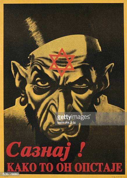 Yugoslavian AntiSemitic Poster Depicting a Caricature of a Jew