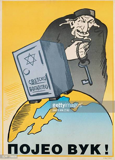 Yugoslavian AntiSemitic Poster Depicting a Jew with a Locked Safe