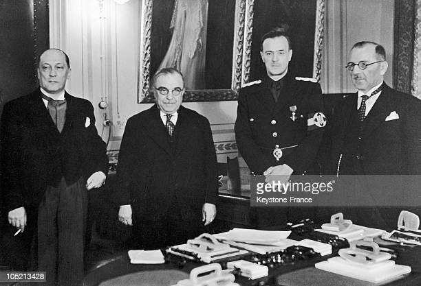 Yugoslavian Minister Of Foreign Affairs CinkarMarcovich Greek Prime Minister Ioannis Metaxas Romanian Minister Of Foreign Affairs Gregory Gafenco And...