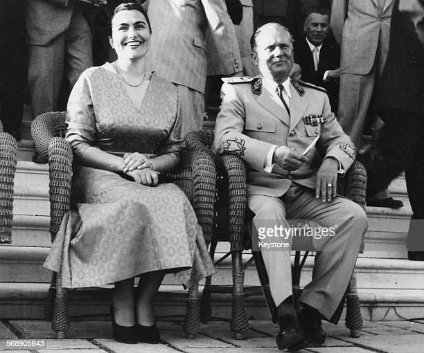 Yugoslavian President Josip Broz Tito and his wife Jovanka Broz watching a display of physical culture at Belgrade Sports Stadium May 28th 1955