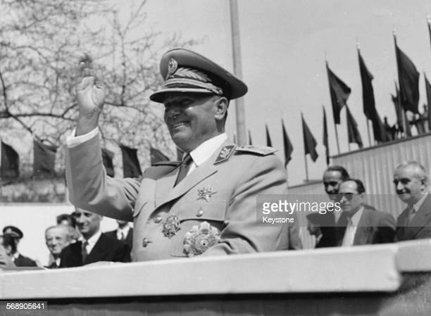 Yugoslavian President Josip Broz Tito waving to the crowd during the May Day Parade in Belgrade May 3rd 1955