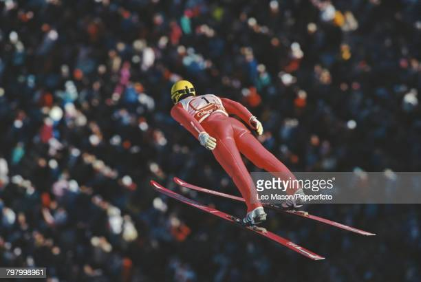 Yugoslavian ski jumper Rajko Lotric pictured in action competing to finish in 26th place in the Men's normal hill individual ski jumping event at the...