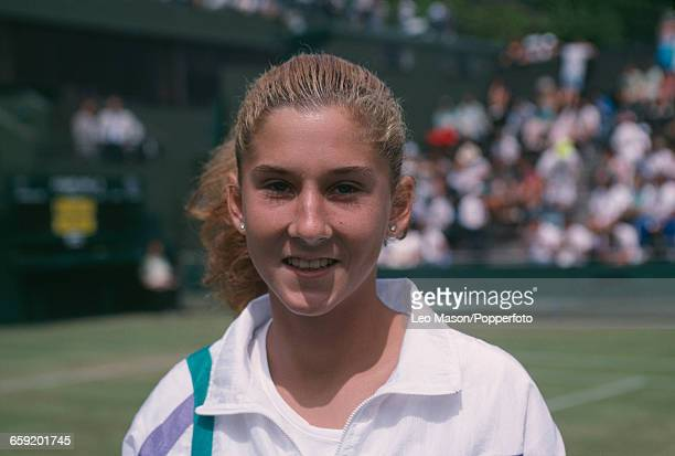Yugoslavian tennis player Monica Seles pictured during competition to reach the fourth round of the Women's Singles tournament at the Wimbledon Lawn...