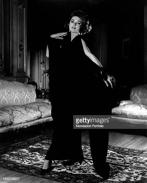 Yugoslavianborn Italian actress Sylva Koscina wearing an evening dress by Federico Fourquet 1963
