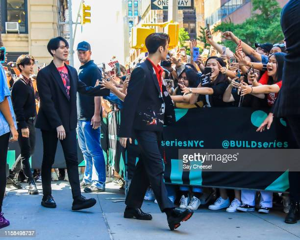 Yugyeom and JB from GOT7 are seen at AOL Build on June 26, 2019 in New York City.