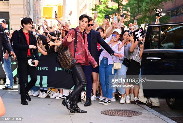 Yugyeom and Mark Tuan of GOT7 are seen outside the Build Studio on June 26, 2019 in New York City.