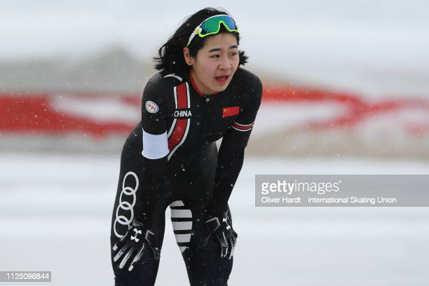 Yuhan Ma of China looks dejected during the Ladies 3000 meter sprint race Day 1 of Junior World Cup Speed Skating at the Oulunkylaen Liikuntapuistoon...