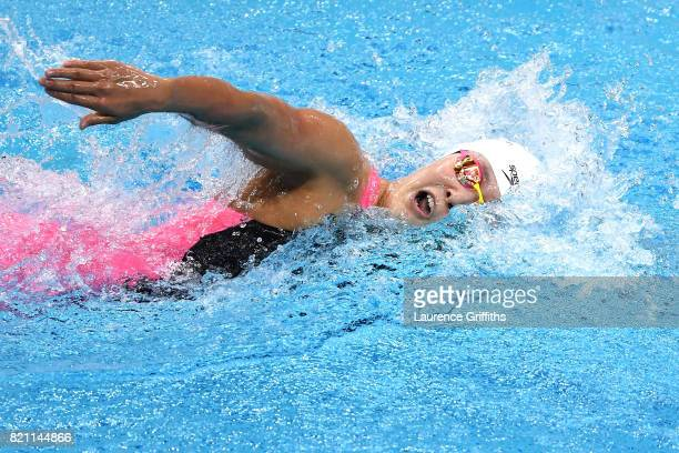Yuhan Zhang of China during the Women's 400m Freestyle heats on day ten of the Budapest 2017 FINA World Championships on July 23 2017 in Budapest...