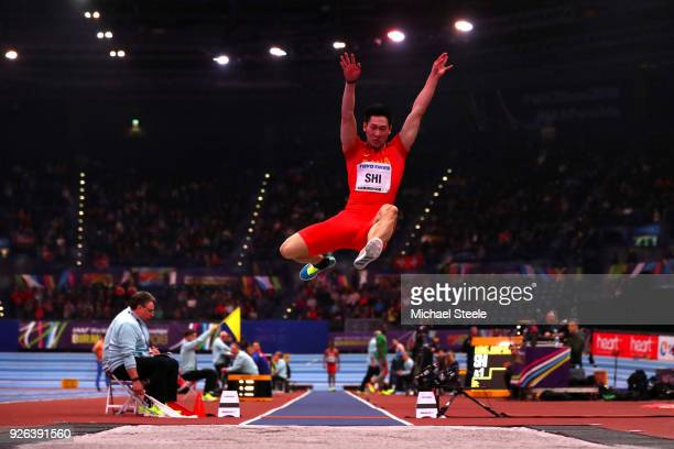 Yuhao Shi of China competes in the Long Jump Mens Final during the IAAF World Indoor Championships on Day Two at Arena Birmingham on March 2, 2018 in...