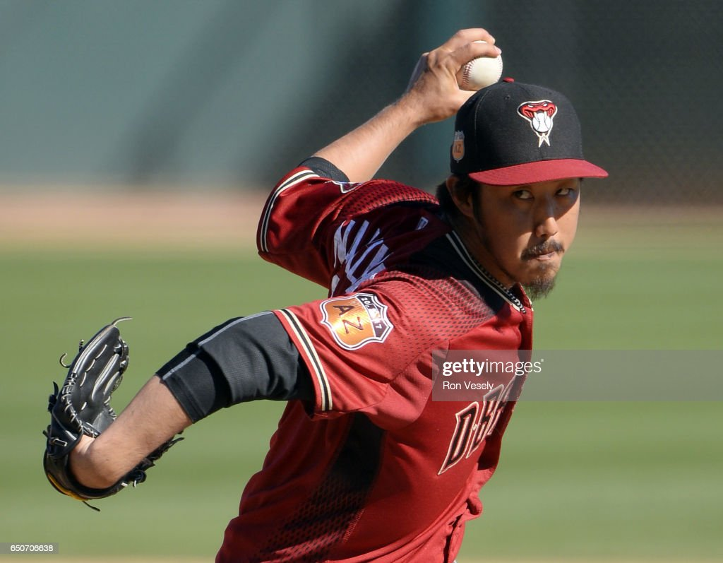 Yuhei Nakaushiro #64 of the Arizona Diamondbacks pitches against the Chicago White Sox during a spring training game on March 01, 2017 at Camelback Ranch in Glendale Arizona.