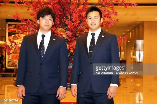 Yuhei Takanashi and Yasuaki Yamasaki is seen on departure at a hotel on November 14, 2018 in Hiroshima, Japan.