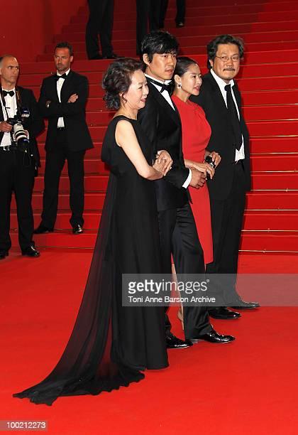 YuhJung Youn Joonsang Yu Jiwon Ye and Sangsoo Hong attend the 'Uncle Boonmee Who Can Recall His Past Lives' Premiere at the Palais des Festivals...