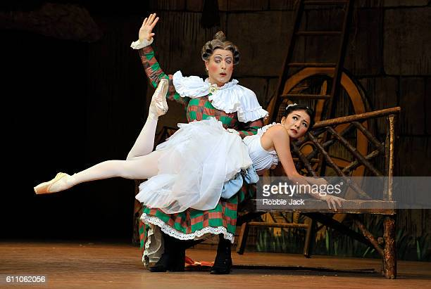 Yuhui Choe as Lise and Jonathan Howells as Widow Simone in the Royal Ballet's production of Frederick Ashton's La Fille Mal Gardee at The Royal Opera...