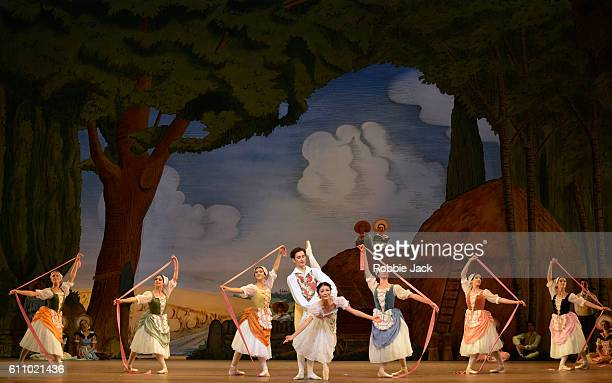 Yuhui Choe as Lise and Valentino Zucchetti as Colas with artists of the company in the Royal Ballet's production of Frederick Ashton's La Fille Mal...