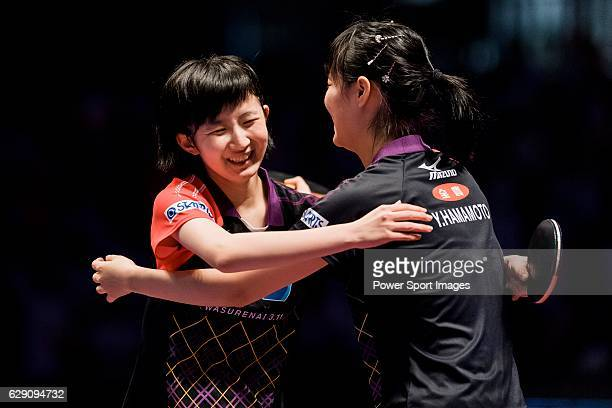 Yui Hamamoto and Hina Hayata of Japan celebrate their victory over Hoi Kem Doo Ho Ching Lee of Hong Kong during their Women's Doubles Final match...
